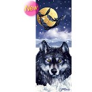 3-D Bookmark Wolf at full moon